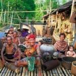 Iban tribe at their longhouse, Sarawak